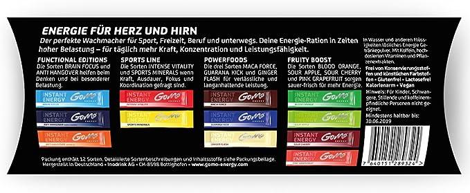 GoMo ENERGY® Mezcla de variedades de bebidas energéticas, vitales, isotónicas y deportivas| Mejora el estado de alerta, concentración, salud, mente y ...