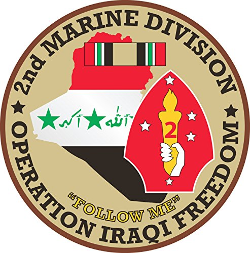 Military Vet Shop US Army 2nd Marine Division Operation Iraqi Freedom Window Bumper Sticker Decal 3.8