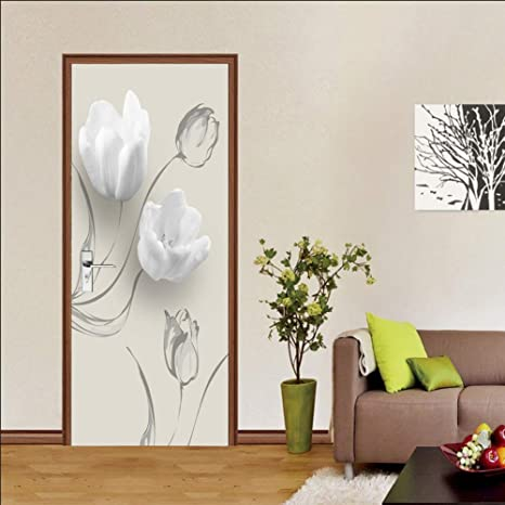 3D Home Art Door Wall Self Adhesive Removable Sticker Flowers Field flowers