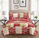 Fancy Collection 2pc Bedspread Bed Cover Floral Beige Red Green Brown Burgundy New Twin /Twin Extra Long # 51