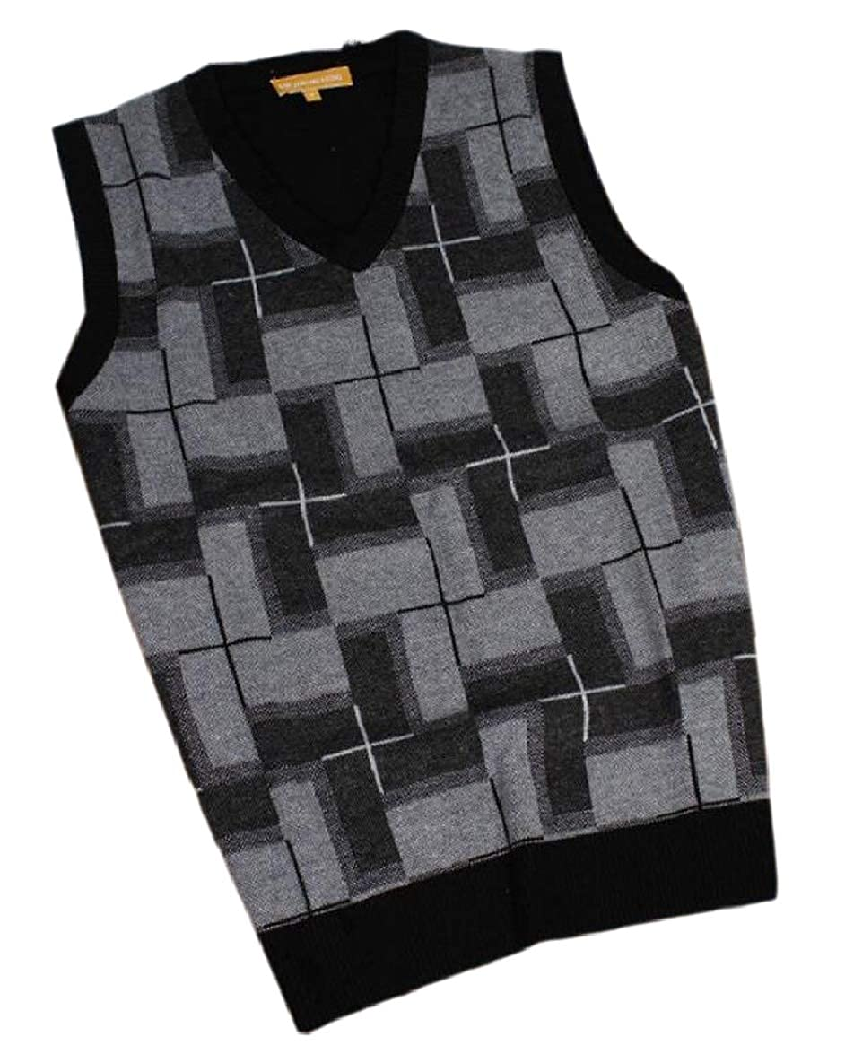 ouxiuli Mens Knit Pullover Autumn Winter Sleeveless V-Neck Waistcoat Sweater Vest