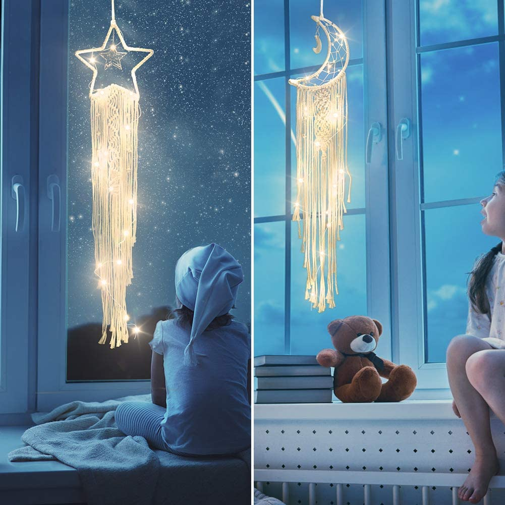Color You Dream Catcher 2 Pcs Moon Star Dream/Catcher/Wall/Decor LED String Light Big Dream/Catcher/Handmade Boho/Dream/Catcher Wall Hanging Dream/Catcher/for/Women Man and Kids