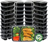 40 Pack - SimpleHouseware 2 Compartments Reusable Meal Prep Storage Container Boxes, 28 Ounces