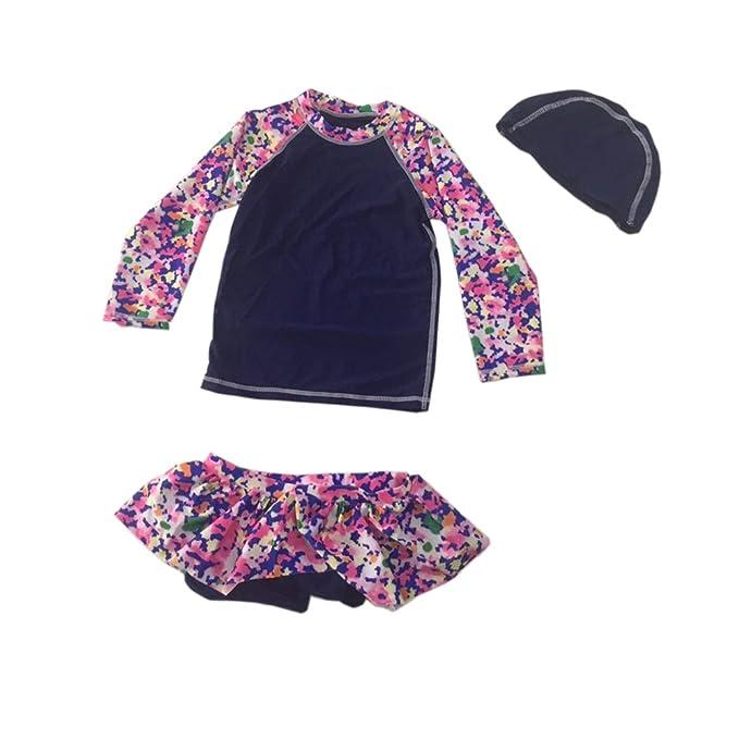 cf3a08eb4121f HelloGO 子供 水着 女の子 かわいい 花柄 スイムスーツ ラッシュガード 2点セット 長袖 UV