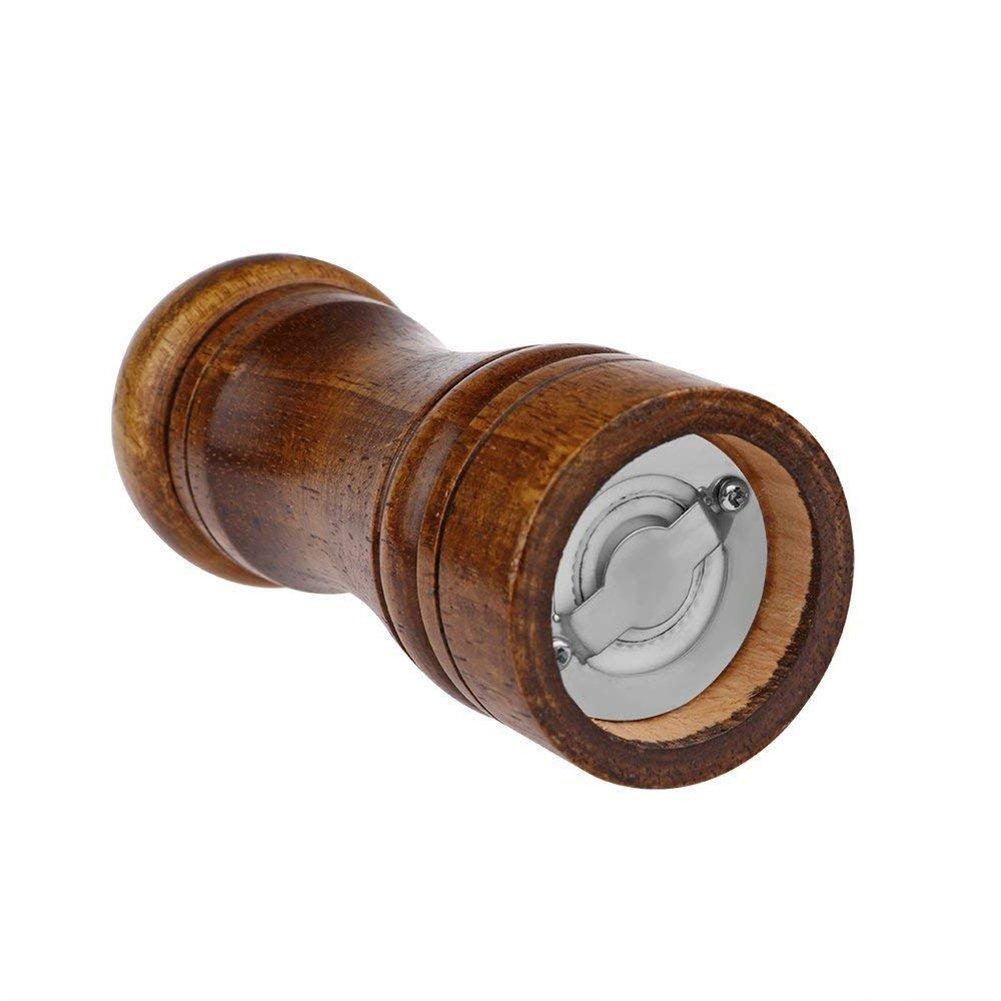 BTMB Salt and Pepper Mill Oak Wood Adjustable Shakers Pepper Coarseness Grinder 5 Inch