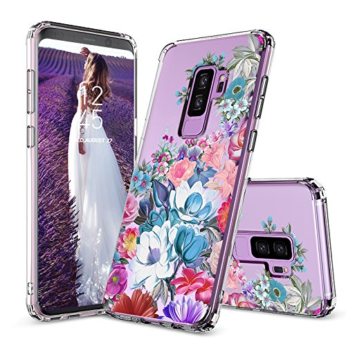 Galaxy S9 Plus Case, Galaxy S9 Plus Clear Case, MOSNOVO Girls Floral Flower Garden Pattern Printed Clear Design Plastic Case with TPU Bumper Protective Case Cover for Samsung Galaxy S9 Plus (2018)