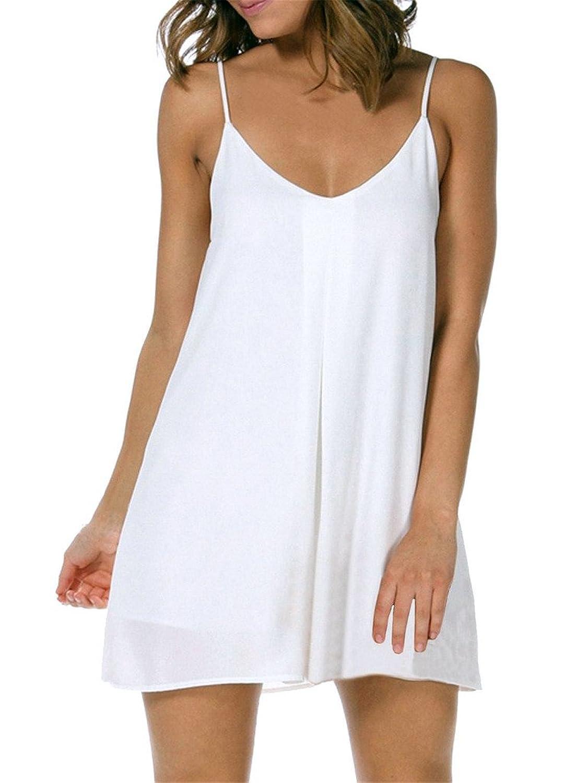 Honeykoko Damen Sommerkleid Strandkleid Chiffon Sexy loses ärmellos Minikleid