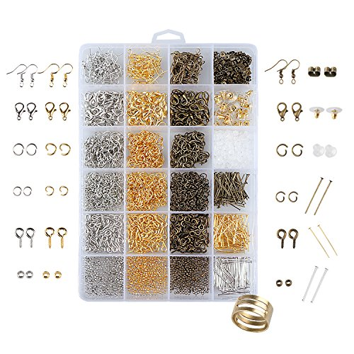 UNIME 2880 Pcs Jewelry Findings Jewelry Making Starter Kit Jewelry Beads, Open Jump Rings, Lobster Clasps, Crimp Beads, Screw Eye Pins, Head Pins, Earing Hooks and Earing - Crimp And Eye Hook