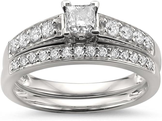 1 Ct Round Cut Diamond Engagement Wedding Ring Set 14K White Gold Bridal Set