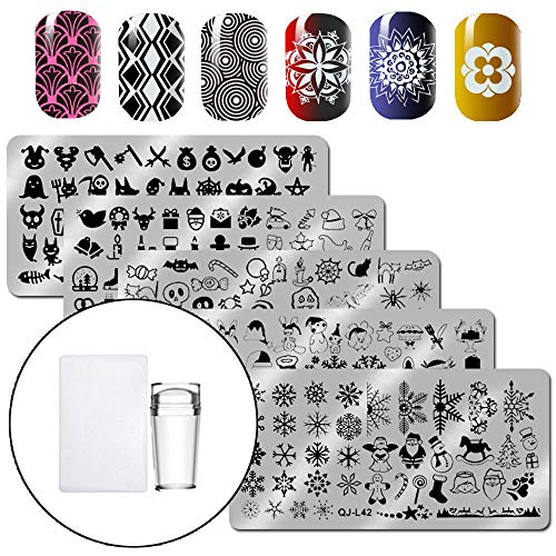 WOKOTO 6Pcs Christmas HalloweeN Nail Stamping Plates Kit With Nail Stamper And Scraper Set Holiday Stamp Plates Nail Art Tools For Manicure