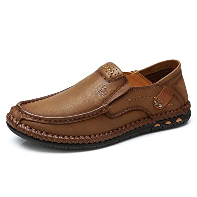 9861110b208 CAMEL CROWN Men's Comfortable Oxford Loafers Shoes Leather Lightweight Soft  Casual Slip-on Suture Elastic