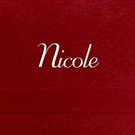 Toalla de baño con nombres Nicole bordados, 70 x 140 cm, color blanco,