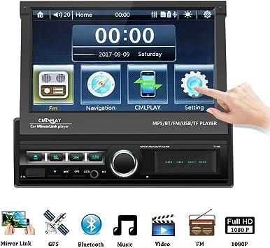 1 DIN Radio de Coche, Podofo GPS Bluetooth Autoradio con 7
