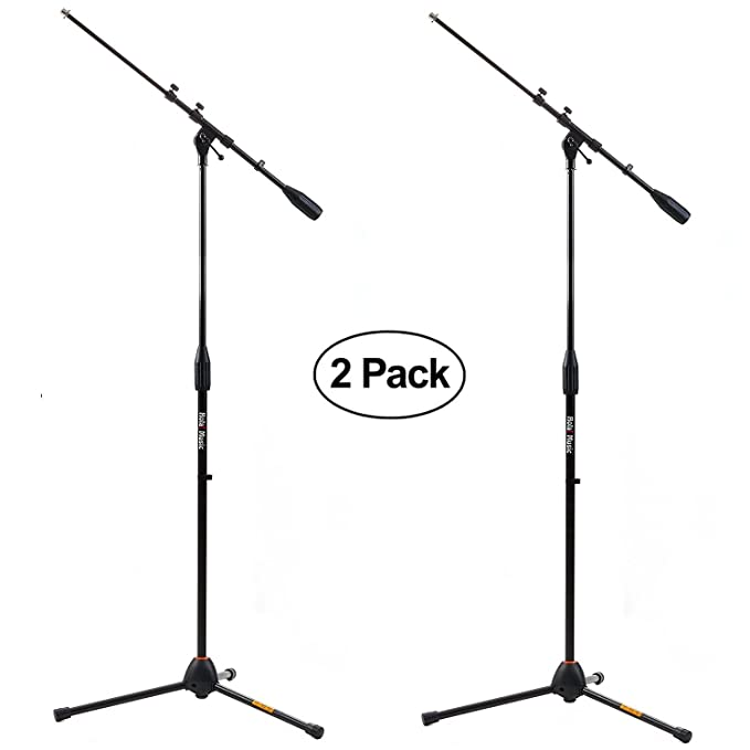 Pack of 2 - Hola! Music HPS-101TB Professional Tripod Microphone Mic Stand with Telescopic Boom