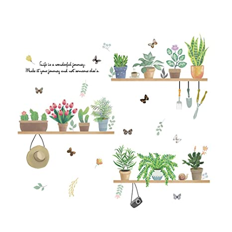 Vosarea Cartoon Cactus Pot Plantas verdes Hojas Pegatinas de pared ...