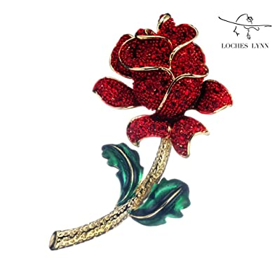 Amazon loches lynn red rose flower spray fashion brooch pendant loches lynn red rose flower spray fashion brooch pendant stellux elements austrian crystals b mozeypictures Choice Image