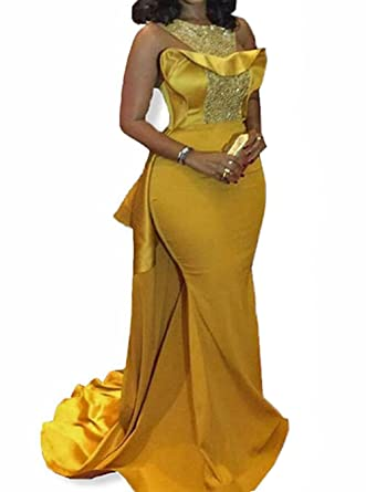 Weierxi Womens Gold African Evening Dresses Mermaid Beading Formal Evening Dress 2017 ...