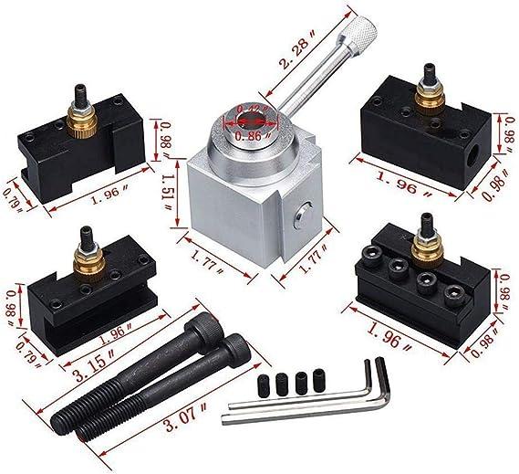 Schnellwechsel-Mini-Drehmaschinen-Werkzeughalter und Halter-Kit aus Aluminiumlegierung zum zylindrischen Drehen Schneiden Bohren und Reiben R/ändeln Planen
