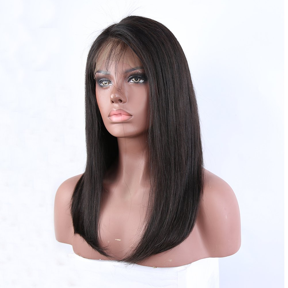 Eayon Hair 360 Lace Frontal Wig Pre Plucked Bob Wigs Natural Straight Brazilian Human Hair Wigs with Baby Hair for Black Women 180% Density Natural Color 16 inch
