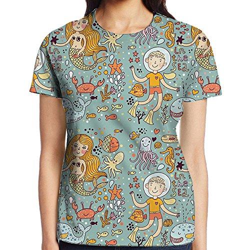 Cute Seek Mermaid Women Basic Short Sleeve T-Shirts Graphic Crew Neck Tops