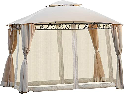 Rockjame Gazebo Canopy 11.8 x 10.6 BBQ Outdoor Grill Gazebo with Removable Sidewall and Mosquito Net for Patios, Garden, Poolside, Top Gazebo Tent for Commercial Activities and Family Party Beige