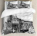 Steam Engine Twin Duvet Cover Sets 4 Piece Bedding Set Bedspread with 2 Pillow Sham, Flat Sheet for Adult/Kids/Teens, Rustic Old Train in Country Locomotive Wooden Wagons Rail Road with Smoke