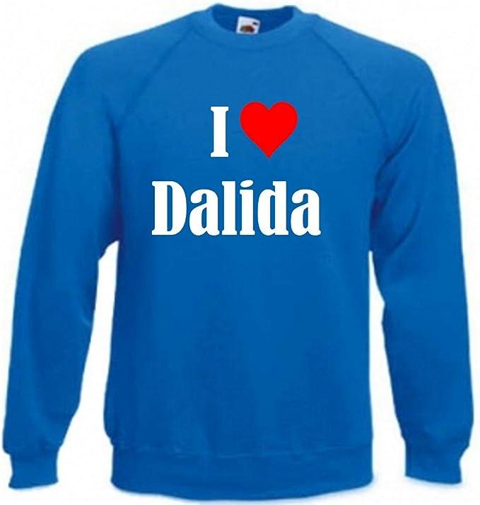 Sweat Shirt Sweater Pull I Love Dalida pour Les Femmes et Les Enfants dans Les Couleurs Noir et Blanc et Bleu avec Surcharge