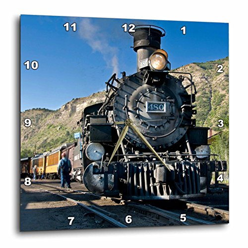 3dRose Danita Delimont - Trains - Durango and Silverton narrow guage Railroad, Trains - US06 LKL0010 - Lee Klopfer - 13x13 Wall Clock (dpp_88941_2)