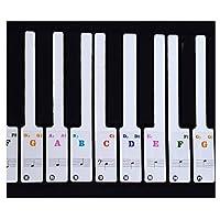 Wenosda Piano Sticker Transparent Plastic Removable Piano Keys Sticker for 37/49/61/88 Key Keyboards Colorful