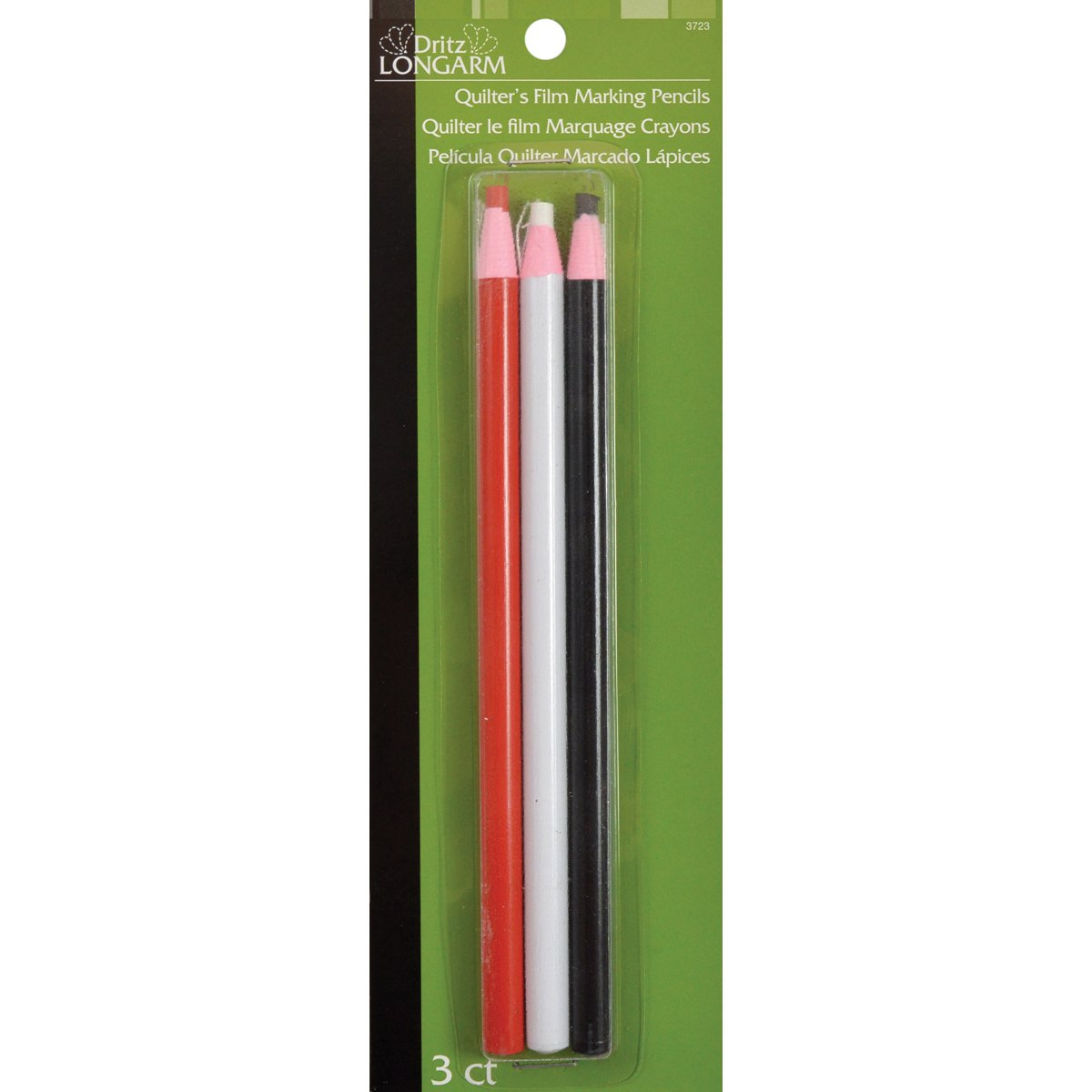 Dritz Longarm Quilter's Film Marking Pencils, 3-Pack, White/Black 3723