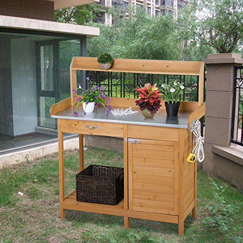 Potting Table (Yaheetech Outdoor Garden Potting Bench Metal Tabletop W/ Cabinet Drawer Open Shelf Natural Wood)