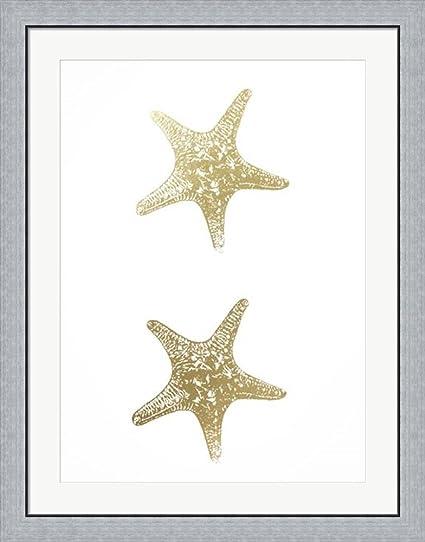 2 up gold foil starfish i metallic foil by vision studio framed art print