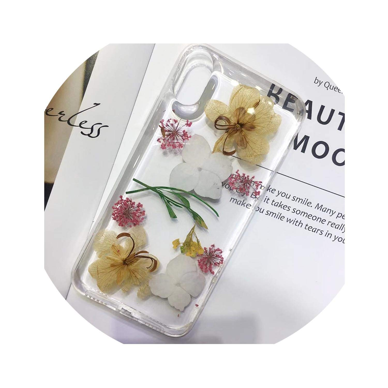 Real Pressed Dried Flowers Phone Case for iPhone Xs Max XR 6 6s 7 8 Plus X Silicon TPU Clear Floral Cover Cases,O,for iPhone XR
