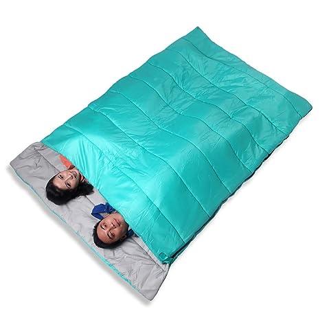 ZML Saco de Dormir Doble, Cálido, 3 Estaciones, Ligero, Acampar al Aire