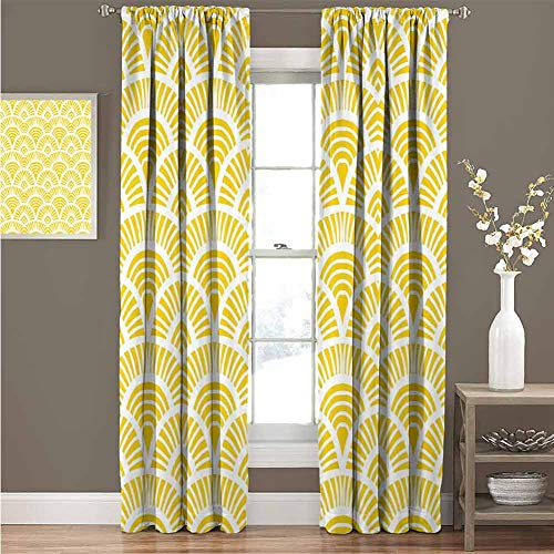Yellow Home Decor Insulated Window Curtains Vintage Hand Drawn Style Art Nouveau Pattern Geometrical Retro Scales Japanese Thermal Insulated Blackout Curtains W108 x L72 Inch Yellow White