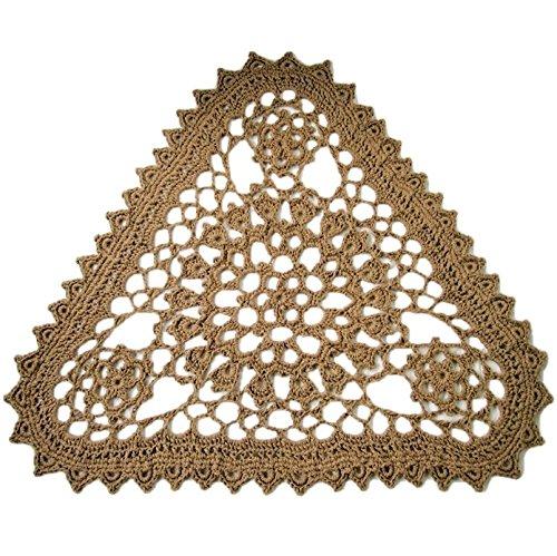 Triangular Jute Area Rug - Openwork Crochet - Made in USA - Triangle