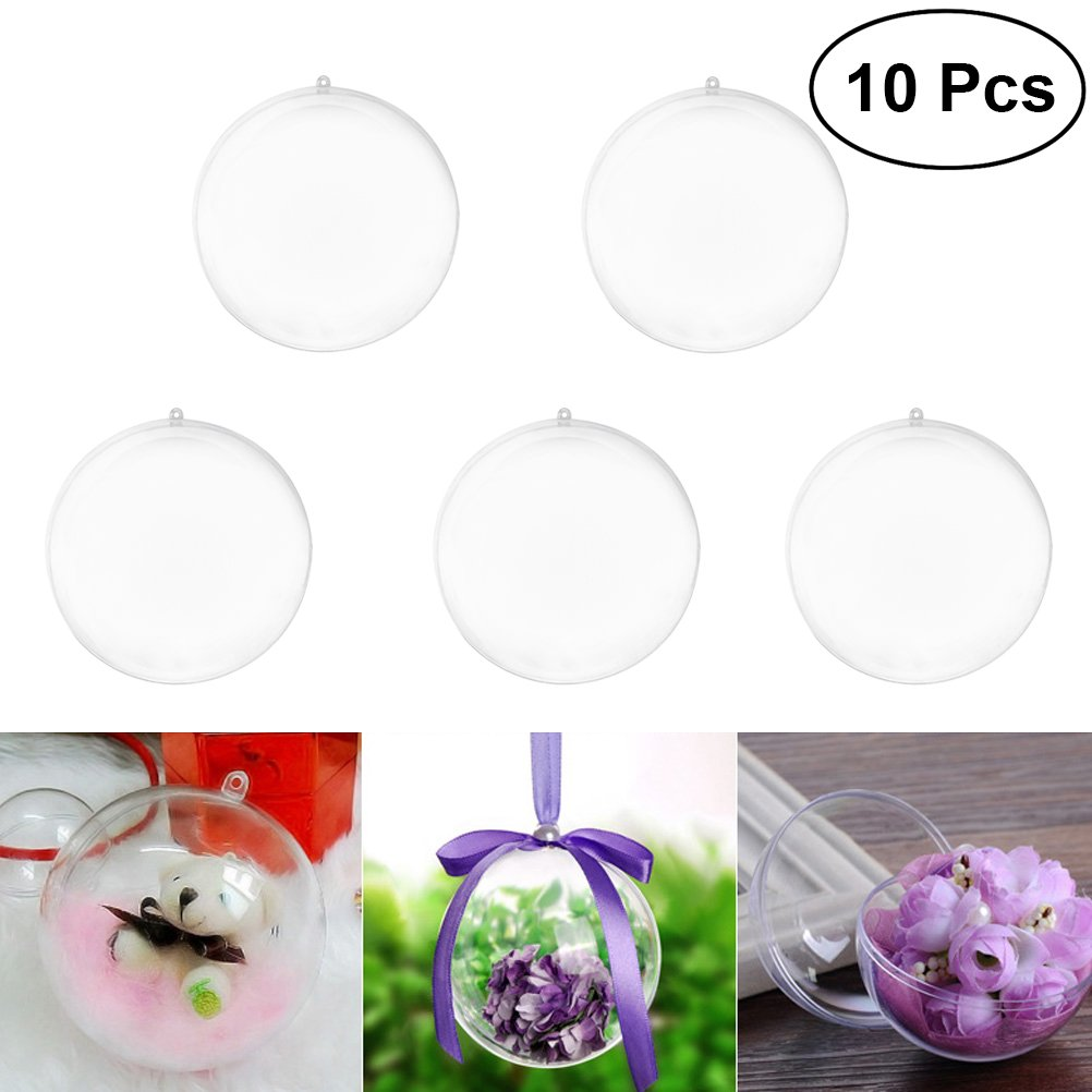 VORCOOL 10pcs Transparent Ball Christmas Tree Pendant Ornaments Xmas Hanging Decoration Bauble Candy Confetti Gift Box Holder Party Wedding Decor 8cm