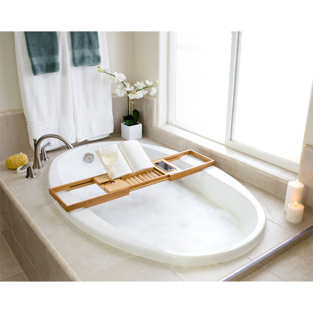 Amazon.com: Bellasentials Bamboo Bathtub Caddy & Bathroom Organizer ...