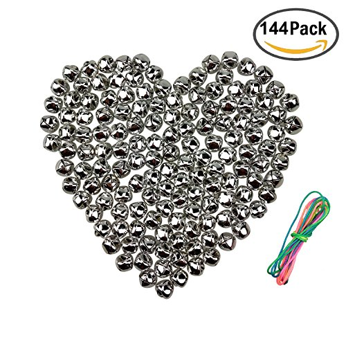 1/2 Inch Jingle Bell - Christmas Silver Small Jingle Bells for DIY Crafts Charms Jewelry Home Decoration, 1/2 Inch, 144 Counts by CSPRING