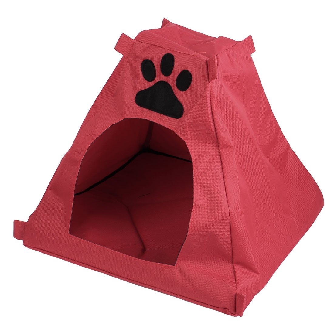 Uxcell Paw Pattern Pet Tent Doghouse Nest, 40cm, Red