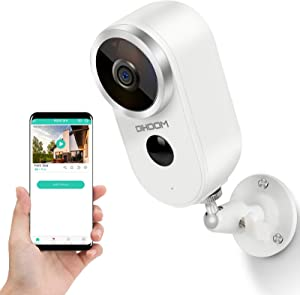 DIHOOM Wireless Security Camera Outdoor Indoor Battery Camera, HD 1080P WiFi Camera, Rechargeble Battery Powered IP Camera 2 Way Audio, Wireless Cameras for Home Security Video Surveillance System
