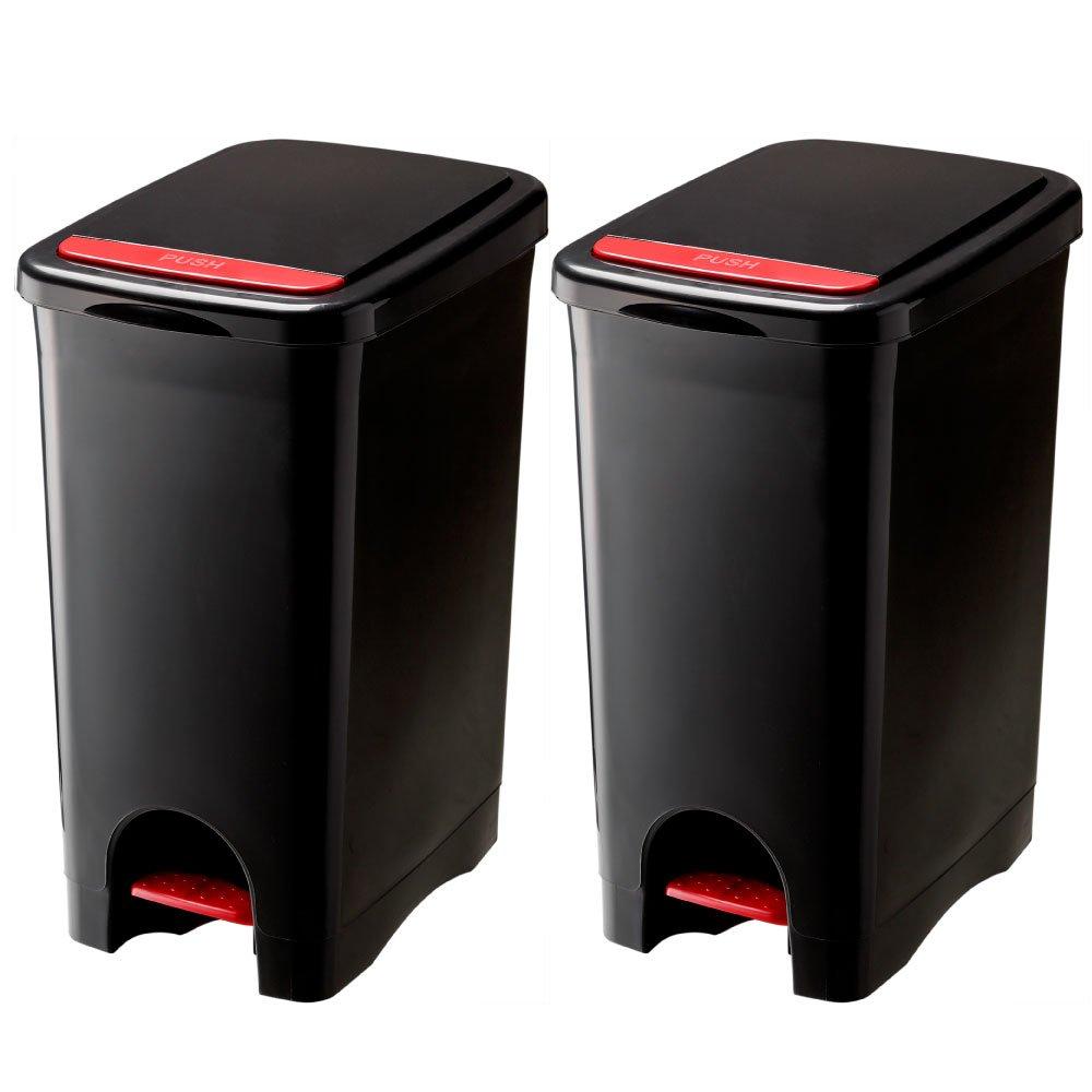 RISU リス URBANO アルバーノ プッシュペダルペール 45L 2個セット ゴミ箱 ごみ箱 ダストボックス (ブラック×ブラック) B01HV0G69K ブラック×ブラック ブラック×ブラック