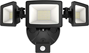 Onforu 50W LED Security Lights with Motion Sensor, 5000lm Outdoor Indoor Flood Light with 3 Head, IP65 Waterproof LED Exterior Floodlight, 5000k Wall Light for Entryways Stairs Yard Garage, Black