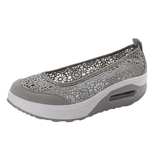 Yiiquanan Donna Traspirante Mesh Platform Sportive Pattini Fitness Scarpe da Ginnastica Sneaker da Zeppa (Nero,EU 36)