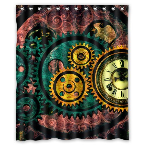 Waterproof Bathroom Gear Steampunk Shower Curtain (60
