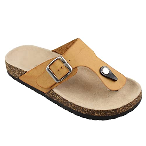 c5e701ea19c SNJ Women Casual Buckle Thong Strap Sandals Flip Flop Platform Footbed  Trends Shoes
