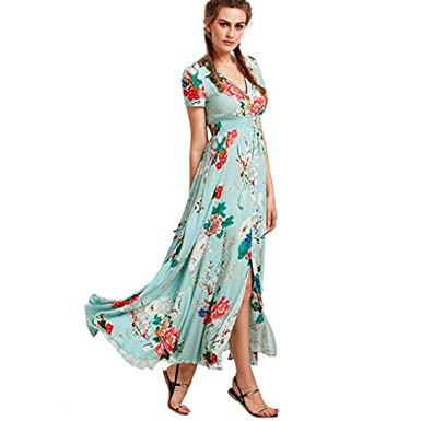 Kanzd Women Summer Button Up Split Floral Cotton Tassels Flowy Party Maxi Long Dress Beach Dress