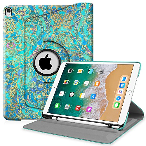 Fintie iPad Pro 10.5 Case with Built-in Apple Pencil Holder - 360 Degree Rotating Stand Protective Cover with Auto Sleep/Wake Feature for Apple iPad Pro 10.5 inch 2017, Shade of Blue