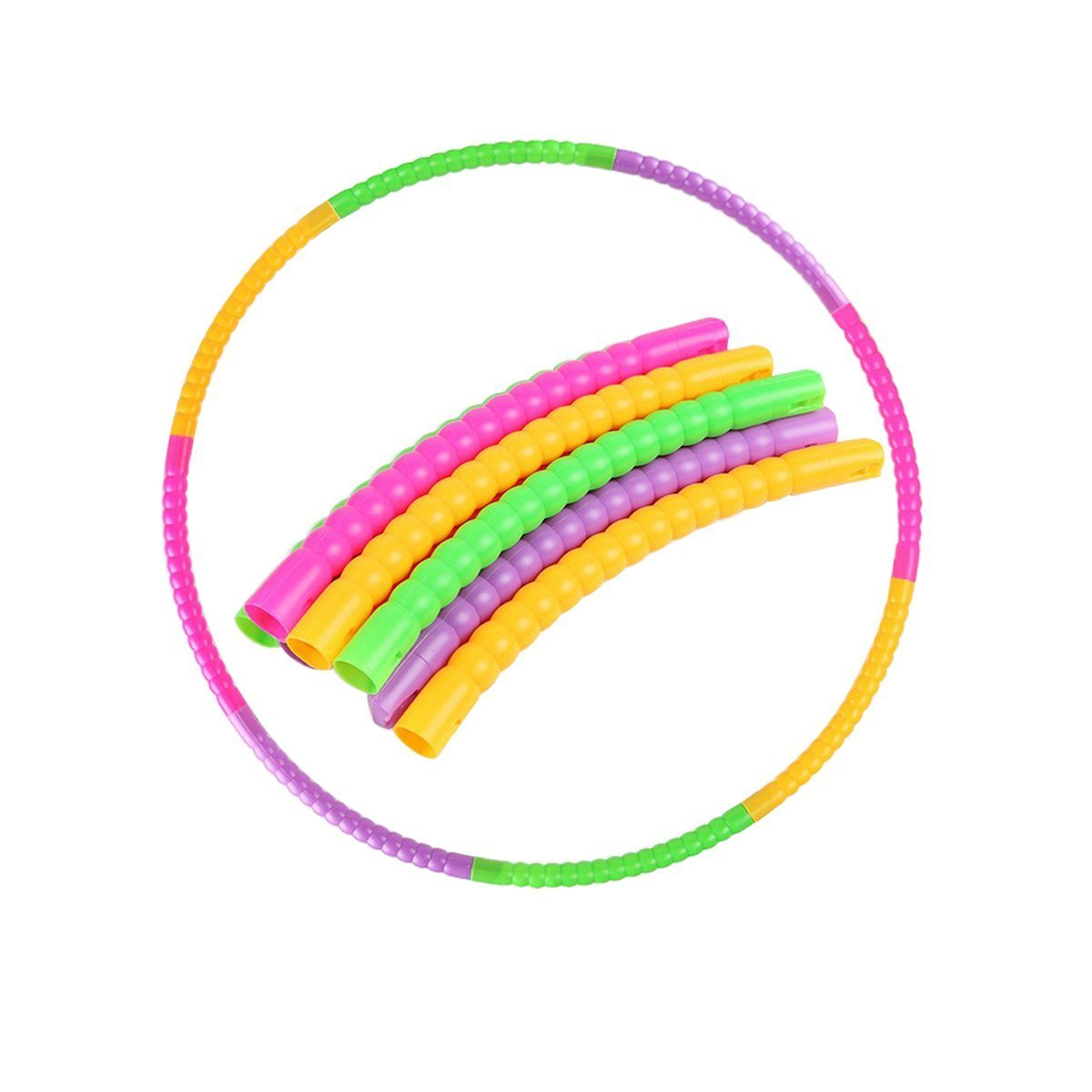 eBelken Kids Hula Hoop for Children's Exercise Fitness Workout, Suitable for 3-8 years old Child's Sports and Playing Games, 8 Colorful Segments, Snap Together and Detachable, ABS Plastics (60cm) by eBelken