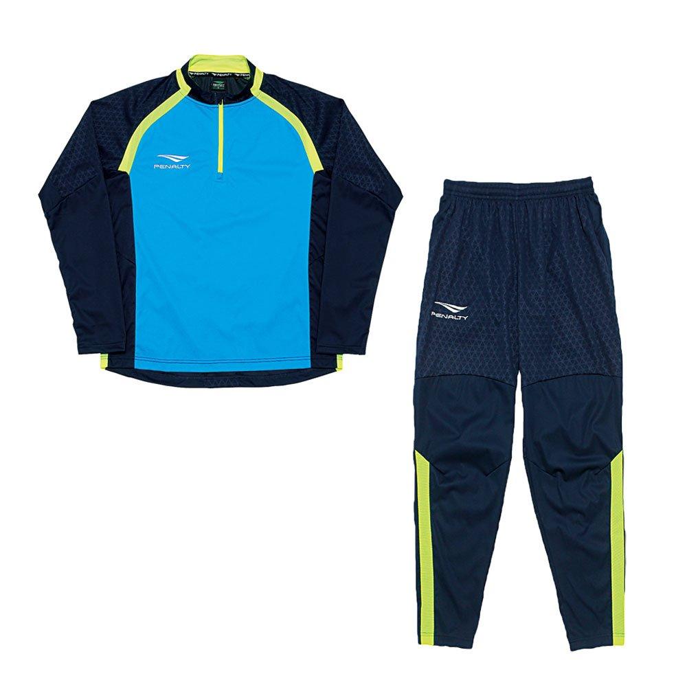 PENALTY(ペナルティ)サッカー フットサルウェア トレーニングハーフジップジャケット/スリムロングパンツ セット PO8556/PO8557 B07B9K37J388シアン8165ネイビー Large